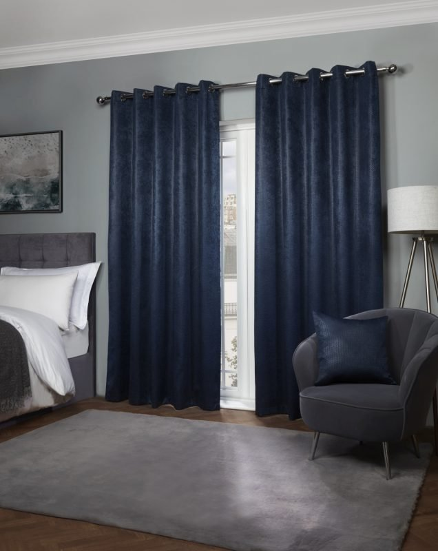 Ambiance - Thermal Blackout Eyelet Curtains in Navy Blue